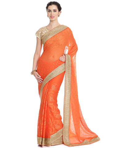 Embroidered Chiffon Saree In Half and Half Style