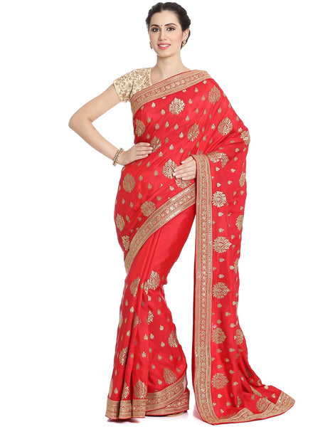 Dupion Silk Saree With Zari Embroidery