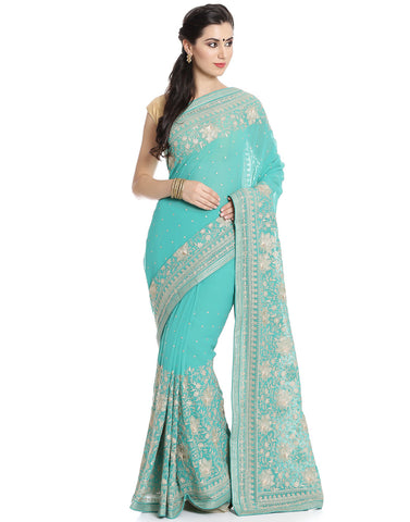 Georgette Saree With All-over Floral Embroidery