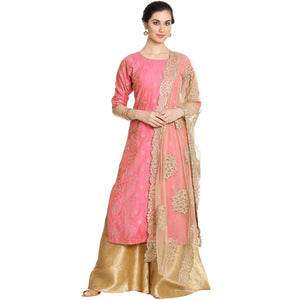 Meena Bazaar: Embroidered Cotton chanderi Sharara Suit