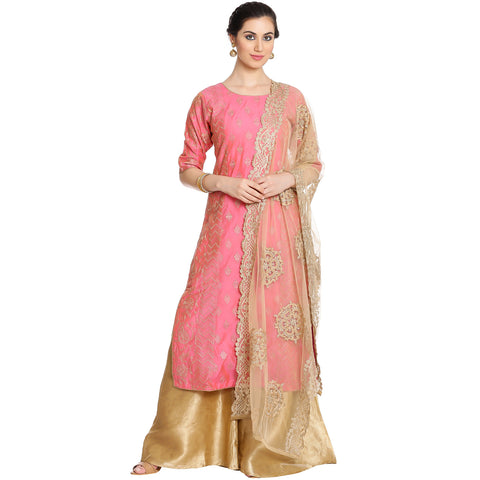 Meena Bazaar: Pink Embroidered Cotton chanderi Sharara Suit