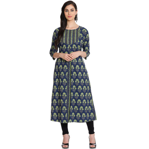Meena Bazaar: Double Layered Cotton Chanderi Kurti With Gotta Embroidery