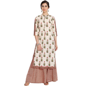 Meena Bazaar: Floral Printed Cotton Kurti With Palazzos