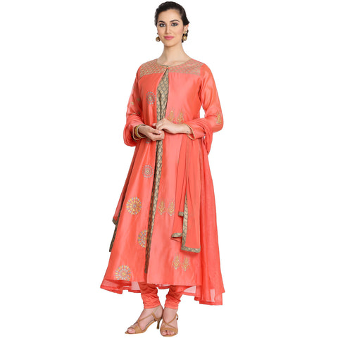 Meena Bazaar: Double Layered Cotton Chanderi Suit with Floral Embroidery