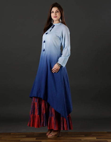 Meena Bazaar : White and blue kurti with printed plazzo