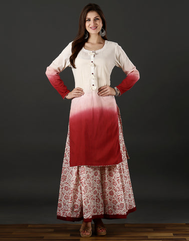 Meena Bazaar : white and red cotton kurti with ombre dye