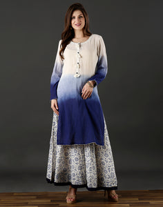 Meena Bazaar : White and blue dyed cotton kurti with ombre dye