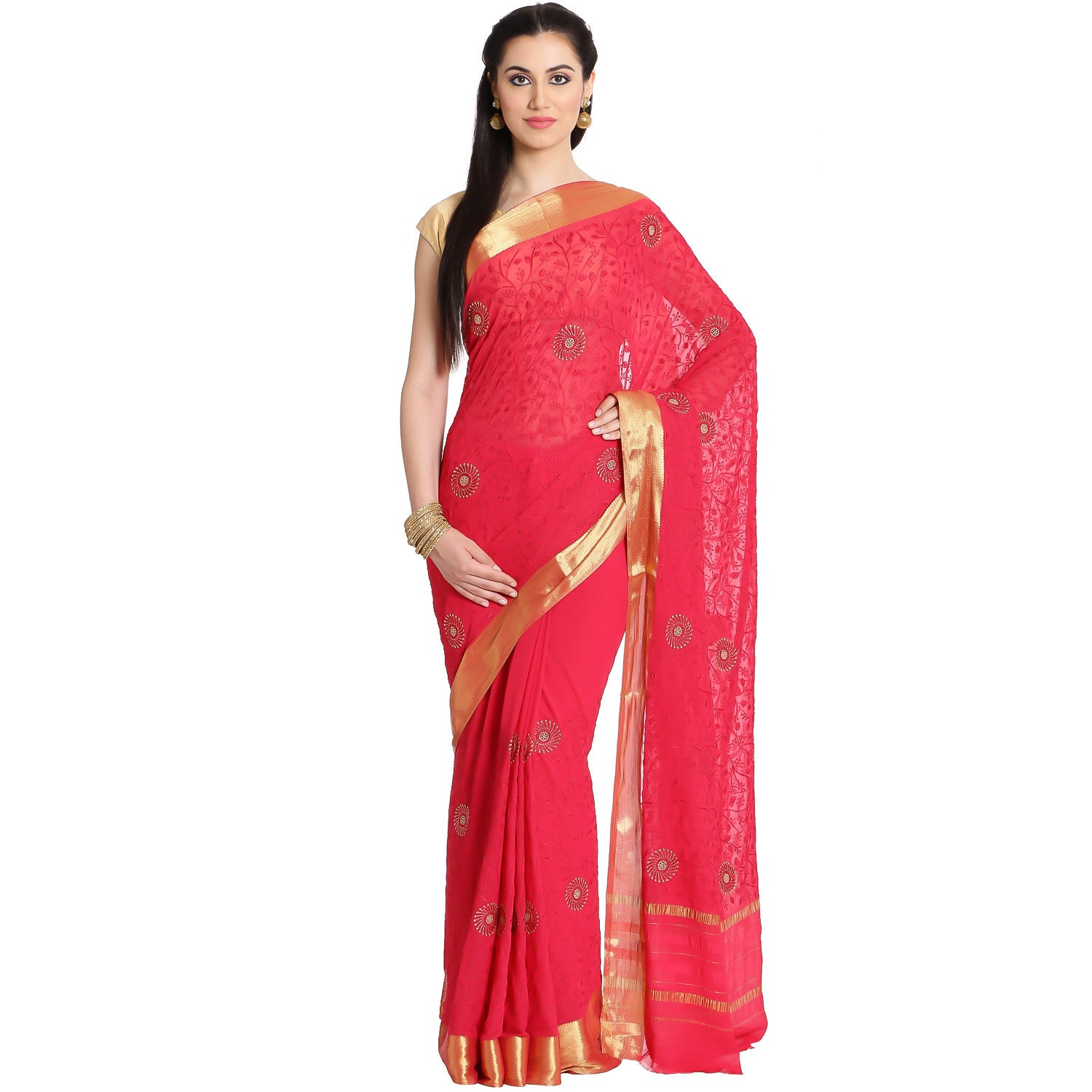 Georgette Saree With Floral Embroidery