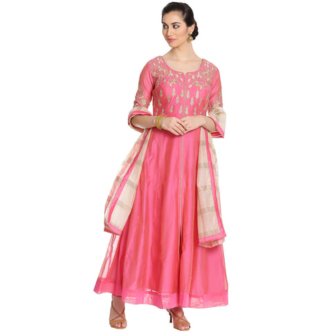 Meena Bazaar: Cotton Chanderi Anarkali Suit with Floral Embroidery