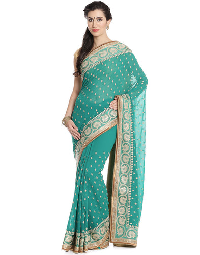 Meena Bazaar: Georgette Saree With Zari Embroidery