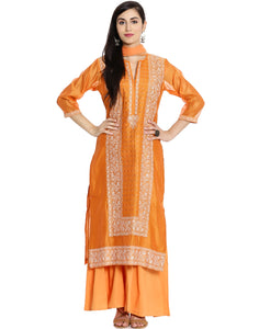 Meena Bazaar: Thread Embroidered Cotton Chanderi Suit