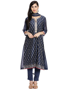 Meena Bazaar: Cotton Chanderi Suit With Floral Thread Embroidered Jaal