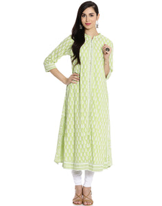 Meena Bazaar : Cotton Kurti With Abstract floral Block Print