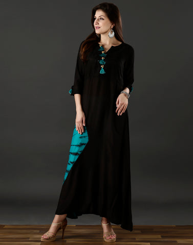Meena Bazaar : Black and sea green kurti with tie and dye