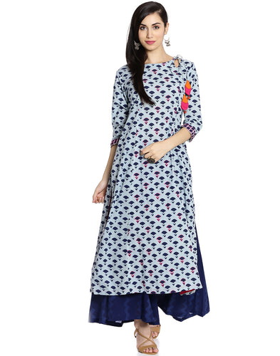 Meena Bazaar: Floral Printed Cotton Kurti With Palazzo