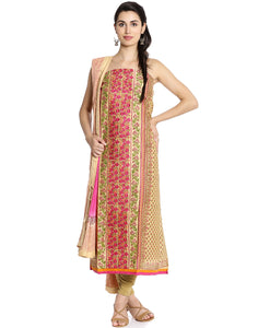 Meena Bazaar: Unstitched Cotton Suit With Floral Thread Embroidery
