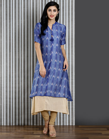 Meena Bazaar : Blue colour printed double-layer kurti of cotton fabric.
