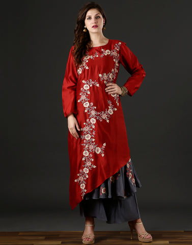 Meena Bazaar : Red and ivory colour salwaar-kameez  with floral embroidery