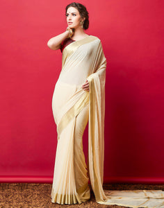 Cream Plain Woven Saree