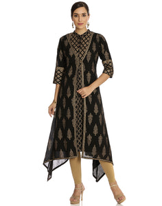 Meena Bazaar: Asymmetrical Double Layered Printed Cotton Kurti