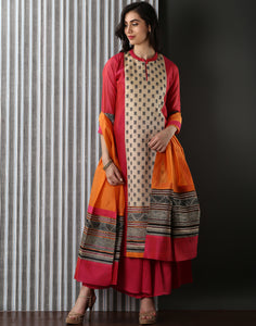 Beige-pink Cotton Chanderi suit with Floral Embroidery