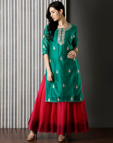 Green Embroidered Cotton Chanderi Kurti With Palazzo