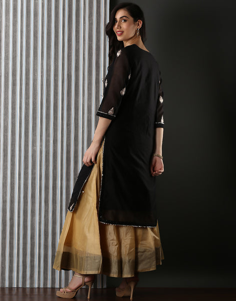 Embroidered Cotton Kurti With Skirt