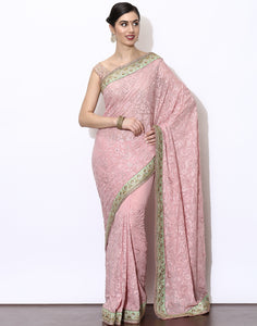 Georgette Saree With All-Over Tread embroidered Jaal