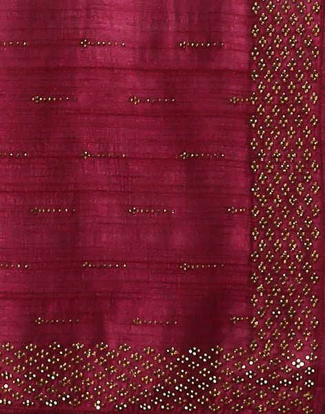 Meena Bazaar: Tussar Saree With Stone Work Embroidery