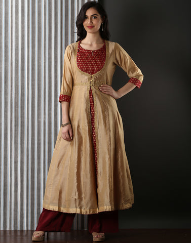 Meena Bazaar : Double Layered Embroidered Cotton Chanderi Kurti