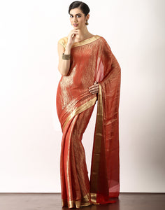 Georgette Saree With All- Over Zari Jaal