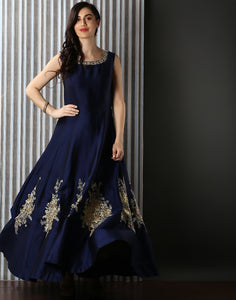 Embroidered Dupion Silk Gown