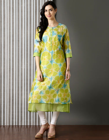 Abstract Printed Cotton Chanderi Kurti With Floral Embroidery