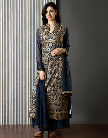 Grey Embroiddered Georgette Suit With Palazzo