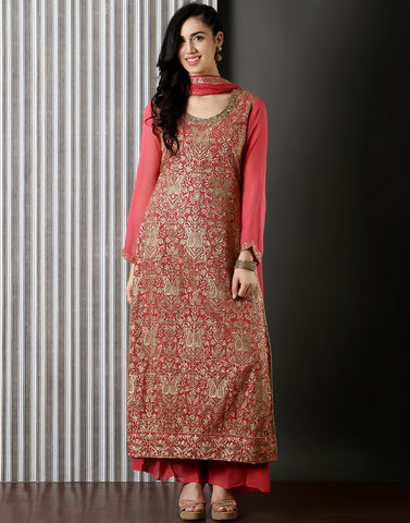 Gazari colour Embroidred Georgette Suit With Palazzo