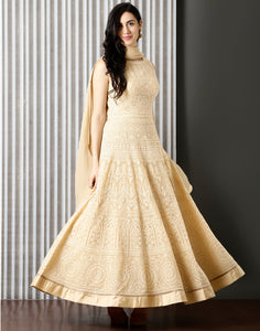 Beige colour Georgette Anarkali Suit With Floral Embroidery