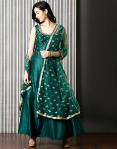 Green colour Dupion Anarkali Suit With Zari Embroidery