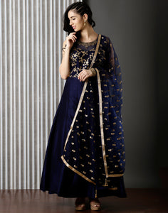 Dupion Anarkali Suit With Zari Embroidery