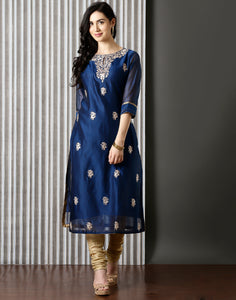 Blue silk Kurti With Floral Embroidery
