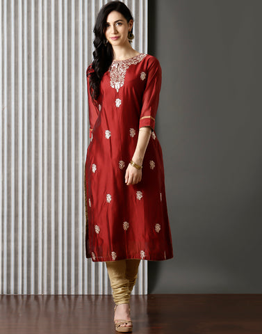 Maroon silk Kurti With Floral Embroidery