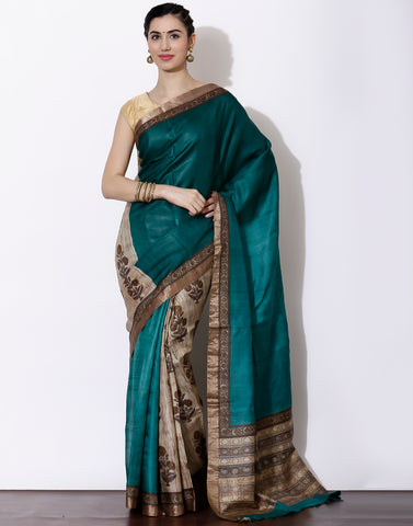Green colour Half and half style Printed Tussar Saree
