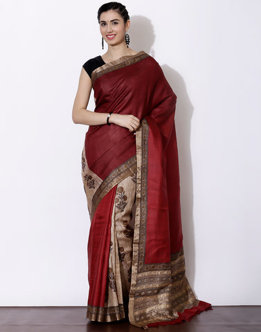 Maroon colour Half and half style Printed Tussar Saree