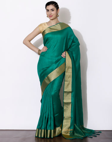 Green Tussar Saree with woven border