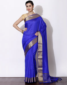 Royal blue Tussar Saree with woven border