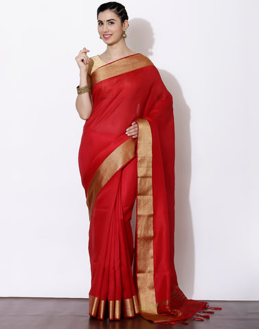 Red saree with  woven golden border