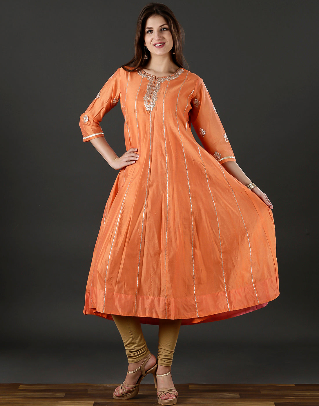 Meena Bazaar :Cotton chanderi anarkali  kurti with embroidery work