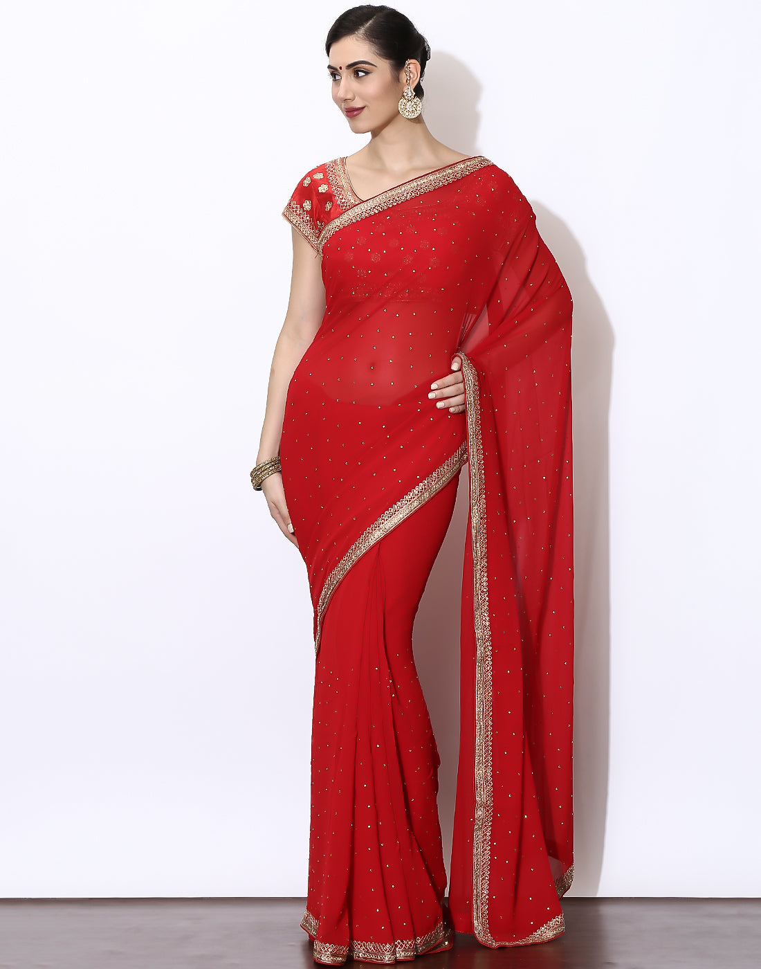 Meena Bazaar: Embroidered Georgette Saree With Ready Blouse
