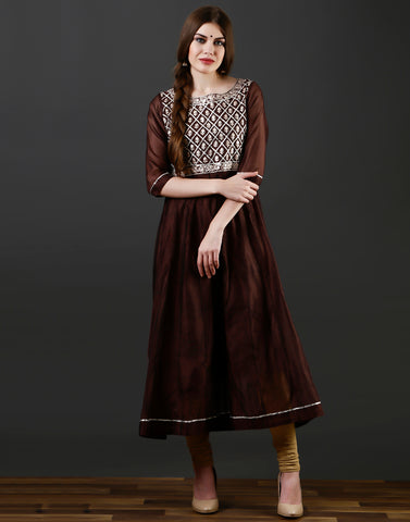 Meena Bazaar : Anarkali style kurti with gota work