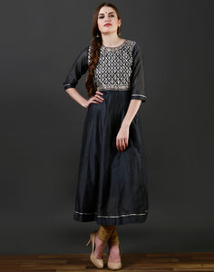 Meena Bazaar : Grey colour anarkali kurti with gota work