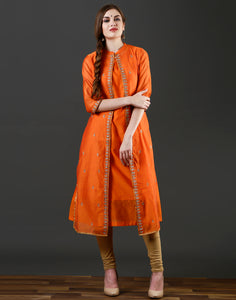 Meena Bazaar : Orange  colour double layer kurti with golden embroidery